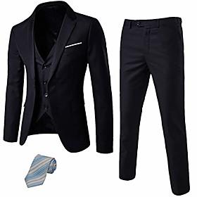 butamp; #39;s 3 piece suit notch lapel one button blazer slim fit dress business wedding party jacket vest pants amp; tie set sky