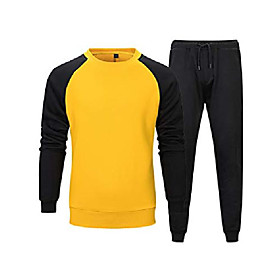 men's casual tracksuit long sleeve running jogging athletic sports shirts and pants set yellow m