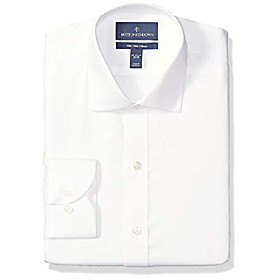 buttoned down men's classic fit spread-collar micro twill non-iron dress shirt, white, 17.5 neck 37 sleeve