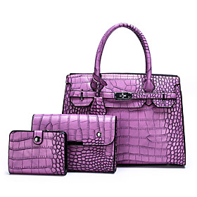 Women's Bags PU Leather Bag Set 3 Pcs Purse Set Zipper for Daily Black / Purple / Yellow / Brown / Bag Sets