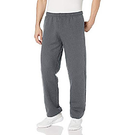 men's big and tall fleece open bottom pocketed pant, dark heather, xx-large
