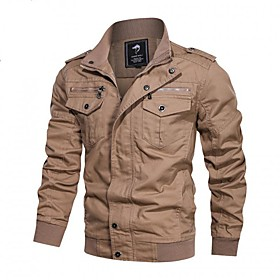 Men's Jacket Parka Casual / Daily Solid Color Polyester Black / khaki / Army Green L / XL / 2XL / Stand Collar