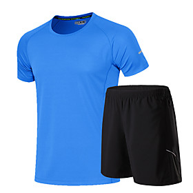 Men's 2-Piece Tracksuit Activewear Set Athletic Athleisure Short Sleeve 2pcs Summer Breathable Quick Dry Soft Fitness Gym Workout Running Jogging Training Spor