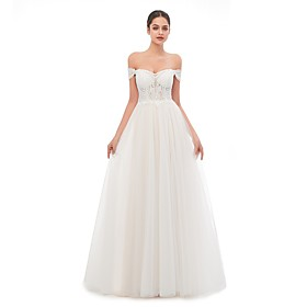 A-Line Wedding Dresses Off Shoulder Sweep / Brush Train Tulle Short Sleeve Beach with Lace Appliques 2020