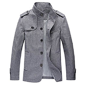 men's cotton blend jacket casual stand collar single breasted trench overcoat style 2 light gray l
