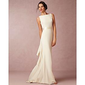 Sheath / Column Wedding Dresses Bateau Neck Sweep / Brush Train Satin Regular Straps Vintage Sparkle Shine with Draping 2020