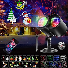 LITBEST Christmas Projector Lights 2-in-1 Ocean Wave LED Waterproof Light Outdoor Indoor Light for Xmas Theme Holiday Party Landscape Deco