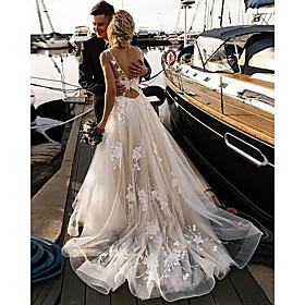 A-Line Beach Wedding Dresses Lace Mesh V Neck Court Train Tulle Spaghetti Strap Backless with Appliques Handmade Custom Bridal Dresses 2020