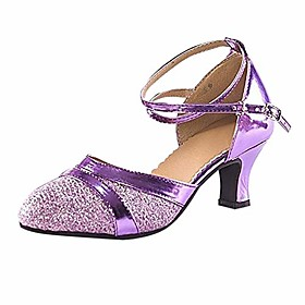 ladies adult latin dance shoes baotou high school with soft bottom square dance shoes purple Listing Date:11/02/2020