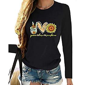 Damen lässige Briefe gedruckt Langarm T-Shirts lose Sonnenblume Grafik Pullover T-Shirts für Frauen schwarz Kotierung:11/01/2020; Speziell ausgewählte Produkte:Übergröße