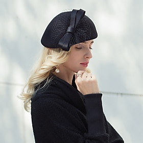 Headwear Elegant Wool Hats with Bowknot 1pc Party / Evening / Daily Wear Headpiece