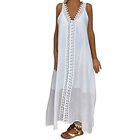 women dresses summer plus size ladies plus size off shoulder sleeveless party bod-ycon lace patchwork long dress,women clothing promotion sale white Listing Date:12/24/2020; Special selected products:PlusSize