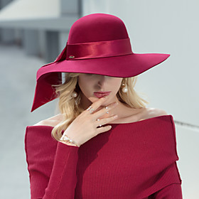 Headwear Casual / Daily 100% Wool Hats with Satin Bowknot 1pc Casual / Daily Wear Headpiece