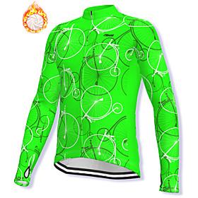 21Grams Men's Long Sleeve Cycling Jacket Winter Fleece Spandex Green Bike Jacket...