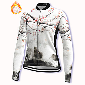 21Grams Women's Long Sleeve Cycling Jacket Winter Fleece Polyester White Floral Botanical...
