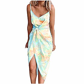 women dresses summer plus size ladies irregular sleeveless tie-dyed print elegant o-neck knee length dress,women clothing promotion sale yellow Fabric:Polyester; Gender:Women's; Listing Date:12/31/2020; Bust:null; Length:null; Special selected products:PlusSize