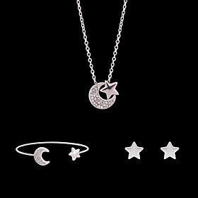 Women's Jewelry Set Bridal Jewelry Sets 3D Moon Star Fashion Gold Plated Earrings Jewelry Silver For Christmas Wedding Party Evening Street Gift 1 set Gender:Women's; Quantity:1 set; Theme:Star,Moon; Shape:Geometric; Style:Fashion; Jewelry Type:Jewelry Set,Bridal Jewelry Sets; Occasion:Gift,Christmas,Wedding,Street,Party Evening; Material:Gold Plated,Rhinestone,Alloy; Design:3D; Brand:Lucky Doll; Shipping Weight:0.012; Listing Date:12/16/2020