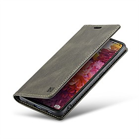 Autspace Leather Case for Samsung Galaxy S20 S10 S9 S8 Magnetic Flip Case Shockproof Retro Wallet Case Full Body S20 Ultra S20 Plus Solid