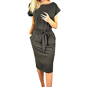 ladies leisure dress with belt elegant round neck midi dresses blouse dresses ball gown party dress women long sleeve pocket wrap dresses evening dresses party Fabric:Polyester; Listing Date:12/17/2020; Bust:null; Length:null; Special selected products:PlusSize