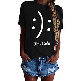 femmes t-shirts drôles coton graphique t-shirts pour adolescentes t-shirts à manches courtes tops noir petit date d'inscription:01/14/2021; Produits spéciaux sélectionnés:Grande taille
