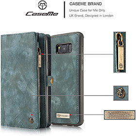 CaseMe Wallet Case for Samsung Galaxy S8 S9 S10 Retro Handmade Leather 2 in 1 Detachable Flip Zipper Case with Card Slots and Magnetic Back