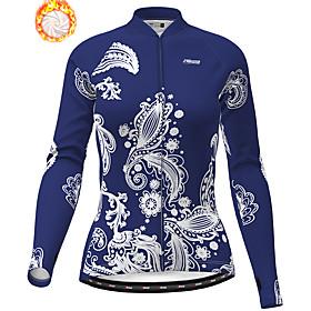 21Grams Women's Long Sleeve Cycling Jacket Winter Fleece White Dark Blue Bike...