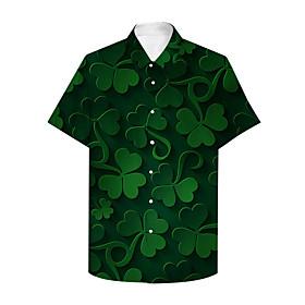 Men's Shirt 3D Print Graphic Prints Saint Patrick Day Button-Down Print Short Sleeve Daily Tops Casual Hawaiian Black