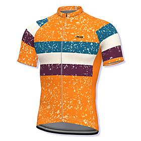 21Grams Men's Short Sleeve Cycling Jersey Spandex Orange Stripes Bike Top Mountain Bike MTB Road Bike Cycling Breathable Quick Dry Sports Clothing App
