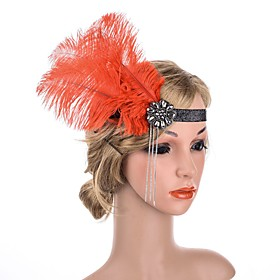 1920s Retro Fabric Fascinators with Feather / Sparkling Glitter 1 Piece Special Occasion / Party / Evening Headpiece