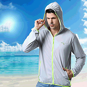 Men's Rain Jacket Hiking Skin Jacket Hiking Windbreaker Long Sleeve Outerwear Jacket Top Outdoor Packable Lightweight UV Sun Protection Breathable Spr