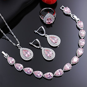 Women's Pink Cubic Zirconia Jewelry Set Bridal Jewelry Sets Briolette Elegant Earrings Jewelry Blushing Pink For Wedding Anniversary Party Evening Gift Engagem Gender:Women's; Gemstone:Cubic Zirconia; Gemstone Color:Pink; Quantity:1 set; Style:Elegant; Jewelry Type:Jewelry Set,Bridal Jewelry Sets; Occasion:Gift,Engagement,Anniversary,Wedding,Party Evening; Material:Copper; Design:Briolette; Shipping Weight:0.2; Listing Date:03/02/2021
