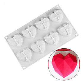 DIY Mold Baking Pastry Tools 8 Holes Cavity Mini Heart Shape Chocolate Mousse 3D Silicon Cake Mold