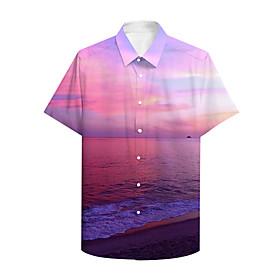 Men's Shirt 3D Print Graphic Prints Landscape Button-Down Print Short Sleeve Daily Tops Casual Hawaiian Light Purple