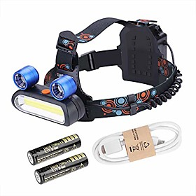 led head lamp 150000lm 2  xm-l t6 led cob rechargeable 2  18650 headlight for kids  adults running fishing camping (blue)