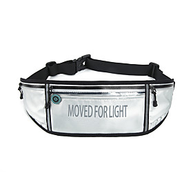Unisex Bags PU Leather Fanny Pack Zipper Letter 2021 Daily Outdoor Black Silver Dark Blue