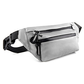 Unisex Bags PU Leather Fanny Pack Zipper Plain 2021 Daily Outdoor Black Green Silver