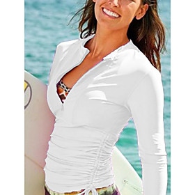 Women's New Neutral Sports Beach Top Swimsuit Solid Color Abstract Ruched Slim Tunic Blouse Normal High Neck Swimwear Bathing Suits White Black Blue /