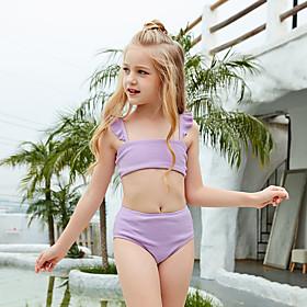 Kids Girls' Swimwear Bikini Two Pieces Swimsuit Print Swimwear Striped Sleeveless Purple Active Bathing Suits
