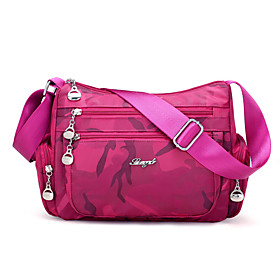 Women's Bags Nylon Crossbody Bag Zipper Camouflage 2021 Shopping Daily Black Purple Fuchsia Dark Blue