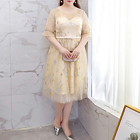 A-Line Glittering Plus Size Homecoming Wedding Guest Dress Illusion Neck Half Sleeve Knee Length Tulle with Embroidery 2021