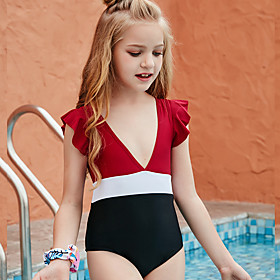 Kids Girls' Swimwear One Pieces Swimsuit Print Swimwear Patchwork Sleeveless Red Active Bathing Suits