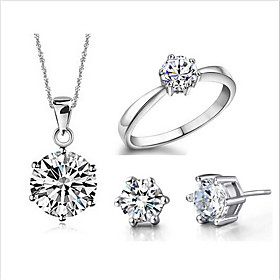 Women's Jewelry Set Elegant Earrings Jewelry Silver For Wedding Anniversary Engagement 1 set Gender:Women's; Quantity:1 set; Style:Elegant; Jewelry Type:Jewelry Set; Occasion:Engagement,Anniversary,Wedding; Material:Silver-Plated; Shipping Weight:0.01; Listing Date:03/24/2021