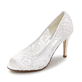 Women's Wedding Shoes Stiletto Heel Peep Toe Lace Braided White Black Pink Category:Wedding Shoes; Upper Materials:Lace; Heel Type:Stiletto Heel; Actual Heel Height:3.54; Gender:Women's; Toe Shape:Peep Toe; Heel Height(inch):3-4; Closure Type:Loafer; Pattern:Braided; Shipping Weight:0.6; Listing Date:04/26/2021; Production mode:Self-produce; Foot Length:; SizeChart1_ID:2:166408; Size chart date source:Provided by Supplier.