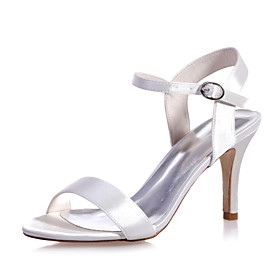 Women's Wedding Shoes Stiletto Heel Open Toe Satin Solid Colored White Black Purple Category:Wedding Shoes; Upper Materials:Satin; Heel Type:Stiletto Heel; Actual Heel Height:3.35; Gender:Women's; Toe Shape:Open Toe; Heel Height(inch):3-4; Closure Type:Ankle Strap; Pattern:Solid Colored; Shipping Weight:0.6; Listing Date:04/26/2021; Production mode:Self-produce; Foot Length:; Size chart date source:Provided by Supplier.
