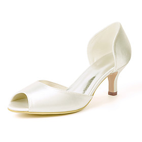Women's Wedding Shoes Kitten Heel Peep Toe Satin Solid Colored White Purple Red Category:Wedding Shoes; Upper Materials:Satin; Heel Type:Kitten Heel; Actual Heel Height:2.36; Gender:Women's; Toe Shape:Peep Toe; Heel Height(inch):2-3; Closure Type:Loafer; Pattern:Solid Colored; Shipping Weight:0.6; Listing Date:04/26/2021; Production mode:Self-produce; Foot Length:; Size chart date source:Provided by Supplier.