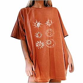 lonea vintage dameskleding vintage zonprint t-shirts oversized T-shirts, oversized shirts voor tienermeisjes, grafische T-shirts voor tieners, sun moon print o Noteringsdatum:05/07/2021