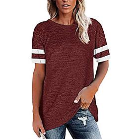 t-shirts pour femmes décontracté coupe ample à manches courtes t-shirts à col rond à rayures parchwork t-shirts bordeaux date d'inscription:05/06/2021