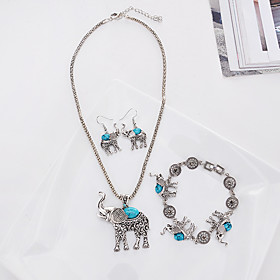 european and american jewelry wholesale fashion elephant set retro personality imitation turquoise jewelry three-piece set 9469 Shipping Weight:0.05; Package Dimensions:20.010.05.0; Listing Date:06/09/2021