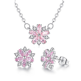 flower zircon jewelry set necklace gift romantic petal micro-inlaid zircon jewelry set Shipping Weight:0.05; Package Dimensions:10.010.01.0; Listing Date:06/03/2021