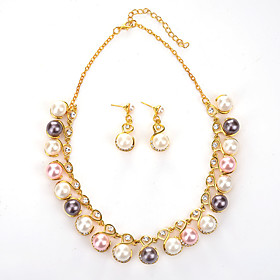 european and american fashion jewelry high quality bridal jewelry alloy 2-piece jewelry rhinestone pearl necklace earrings Shipping Weight:0.05; Package Dimensions:20.010.05.0; Listing Date:06/09/2021